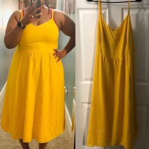 Yellow and White striped dress